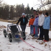 Teaching about dryland dog sledding